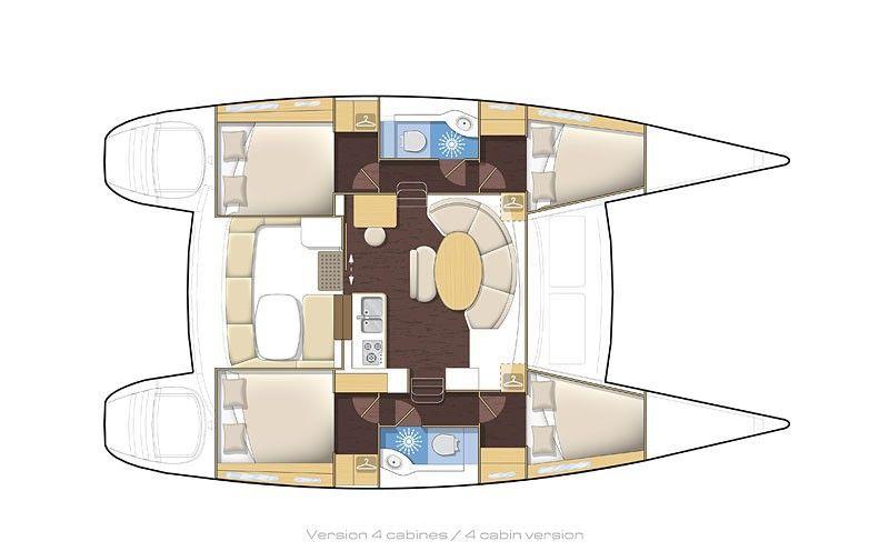 plan lagoon 380 4 cabines - Sail Paradise